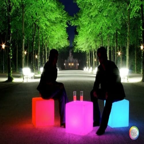 "40 cm 16"" Outdoor LED Cordless Cube Chair Color Changing Light"