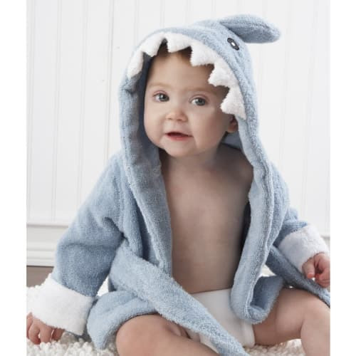 Baby Aspen Let the Fin Begin Terry Shark Robe Hooded 0-9 Months