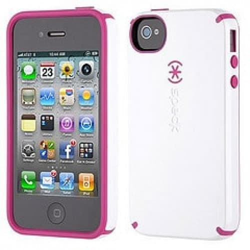 Speck Products CandyShell for iPhone 4 & 4S - White Pink RaspberryTruffle White