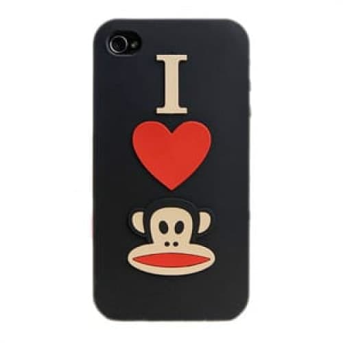 Paul Frank I Heart Julius Black Silicone Case for iPhone 4
