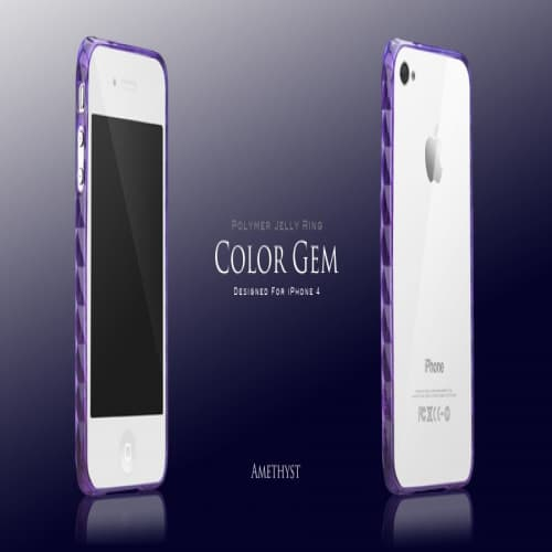 More Color Gem Polymer Jelly Ring for iPhone 4 AP13-024 (Amethyst Purple)