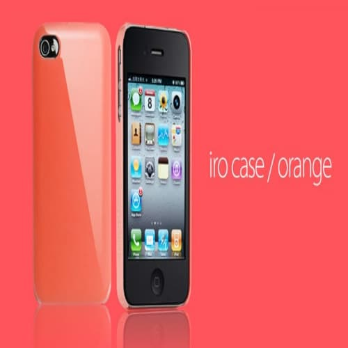 Essential TPE Iro Glossy Orange UV Coating Snap Case for iPhone 4
