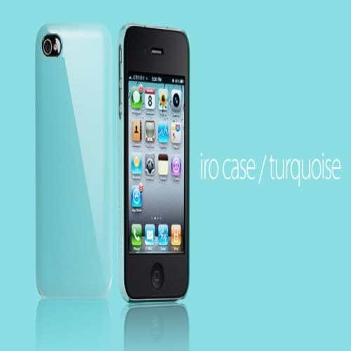Essential TPE Iro Glossy Turquoise UV Coating Snap Case for iPhone 4
