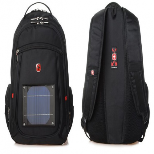 All Weather Solar Power Backpack With Built in Panel and Battery