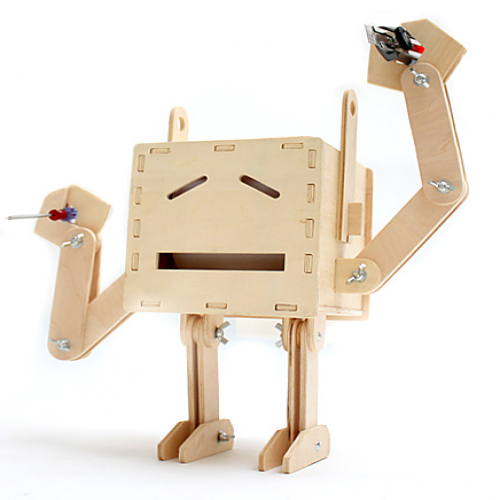 Wood Robot Tissue Box and Utensil Holder GeekCook
