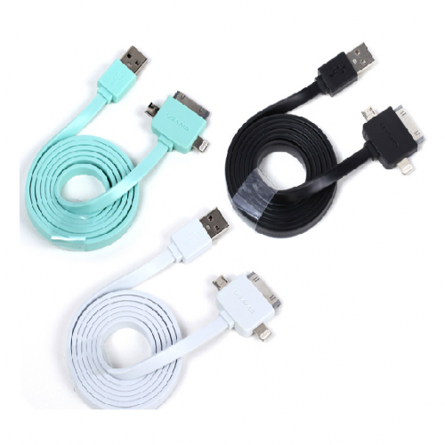 3-in-1 Micro USB/USB Lightning, 3.0/30-Pin/8-Pin USB Charging Data Cable for Samsung Note 3/S5/S4, iPhone 5S/4S/4/3GS/3, iPad 5/4/Air/Mini