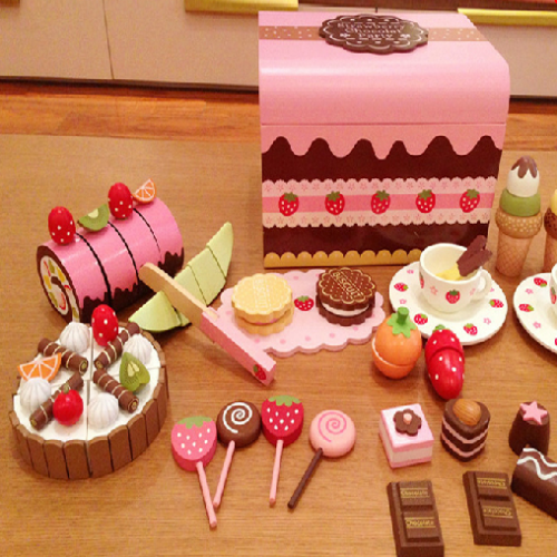 Mother Garden Handmade Wooden Pretend Play Toy--Afternoon House Party Chocolate Cake Box Set