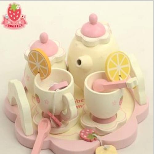 Mother Garden Handmade Wooden Pretend Play Toy--Strawberry Tea Pot Set