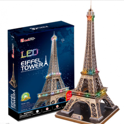 3d Model Puzzle With Led Light Effects Eiffel Tower Wackydot