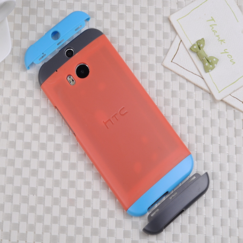 HTC One M8 Original Double Dip Case Orange Blue Grey