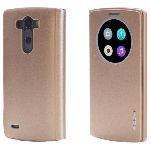 LG G3 Rock Quick Circle Leather Case Gold