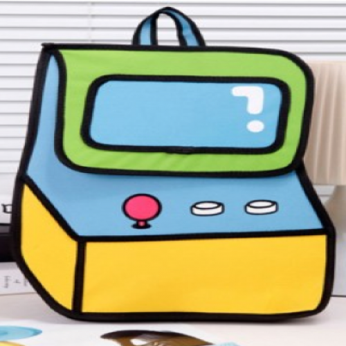 Jump From Paper Cute 2D 3D Effect Arcade Game Machine Backpack