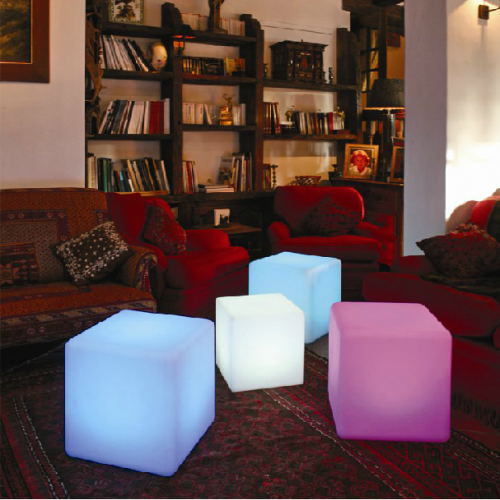 """30 cm 12"""" Outdoor LED Cordless Cube Chair Color Changing Light"""