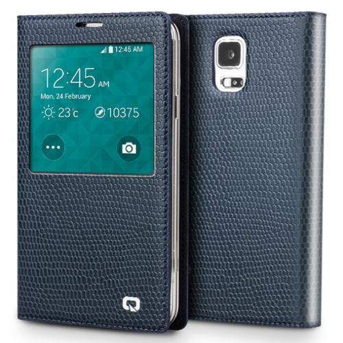 Executive Premium Handcrafted Leather S-View Case for Galaxy S5 Blue Lizard Scales