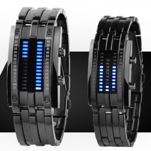 Waterproof Black Steel Transformer Style LED Watch