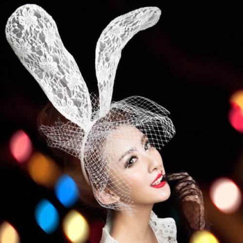 Halloween White Lace Long Bunny Ears Headband Costume