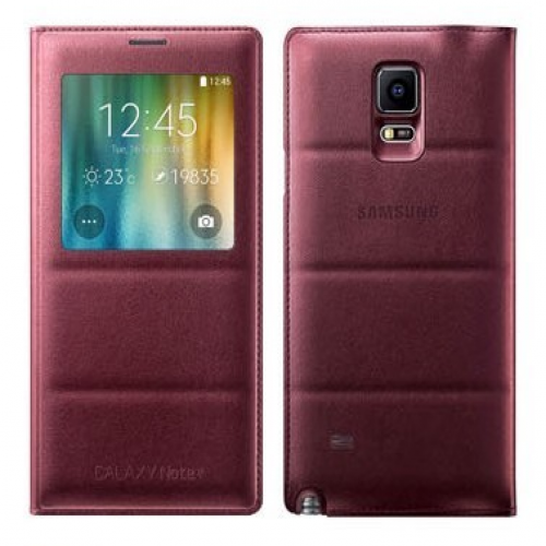 Samsung S-View Flip Cover (Plum Red) for Galaxy Note 4