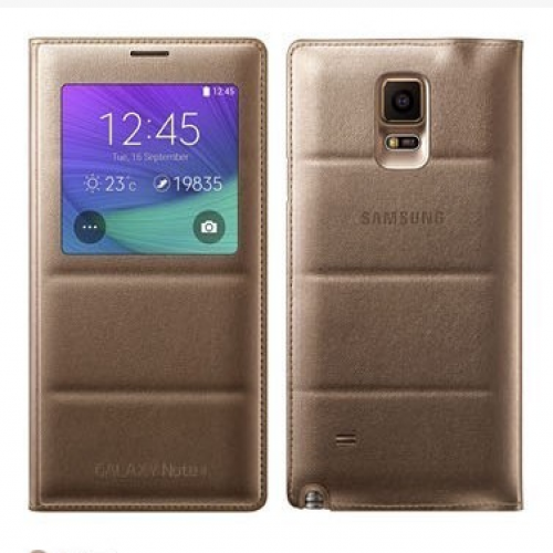 Samsung S-View Flip Cover (Gold) for Galaxy Note 4