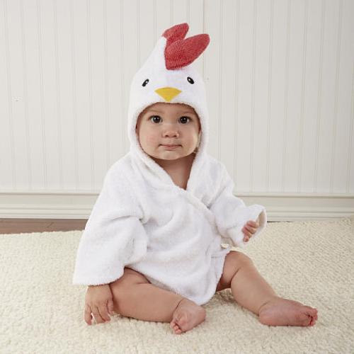 "Baby Aspen Neutral ""Barnyard Bathtime"" Chicken Hooded Spa Robe 0-9 Months"