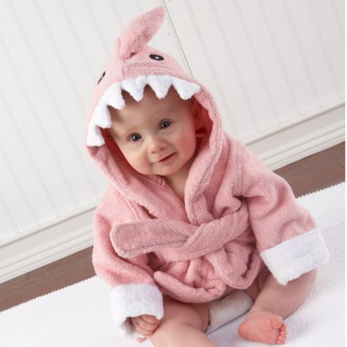 Baby Aspen Let the Fin Begin Pink Shark Robe