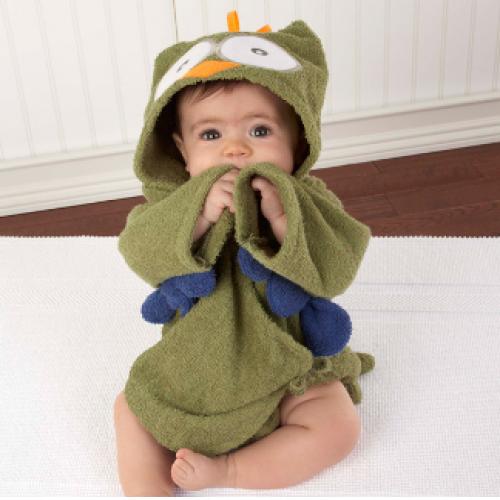 Baby Aspen My Little Night Owl Hooded Terry Spa Robe Green