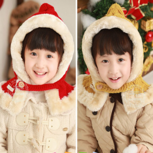 LemonKid Knitted Stylish Scarf Faux Fur Christmas Hat Kids