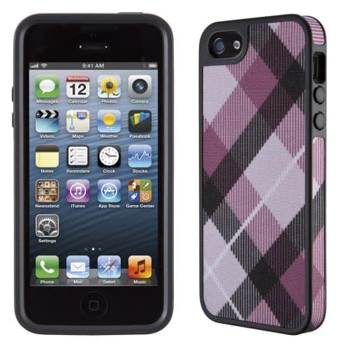 FabShell for iPhone 5 - MegaPlaid Mulberry/Black