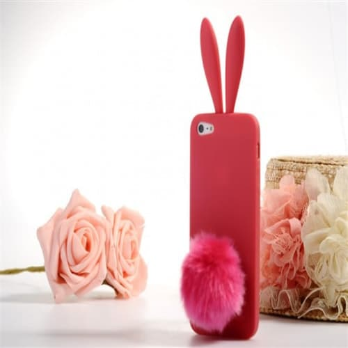 Rabito Bunny Ears Rabbit Furry Tail Red Pink Silicone 3D iPhone 5 Case