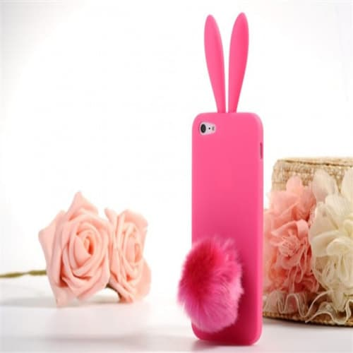 Rabito Bunny Ears Rabbit Furry Tail Hot Pink Silicone 3D iPhone 5 Case