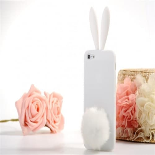 Rabito Bunny Ears Rabbit Furry Tail White Silicone 3D iPhone 5 Case