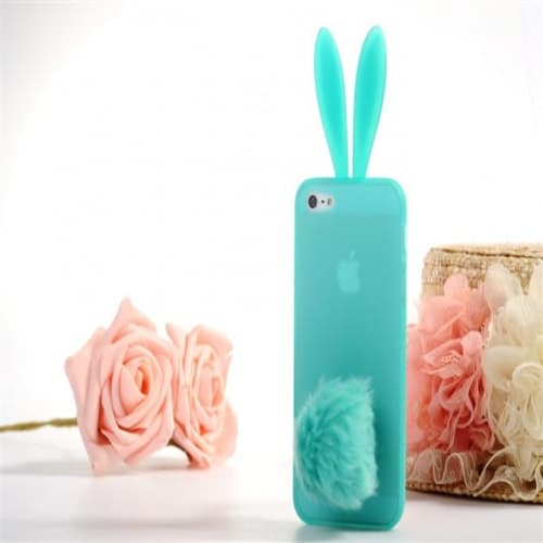 Rabito Bunny Ears Rabbit Furry Tail Turquoise Silicone 3D iPhone 5 Case