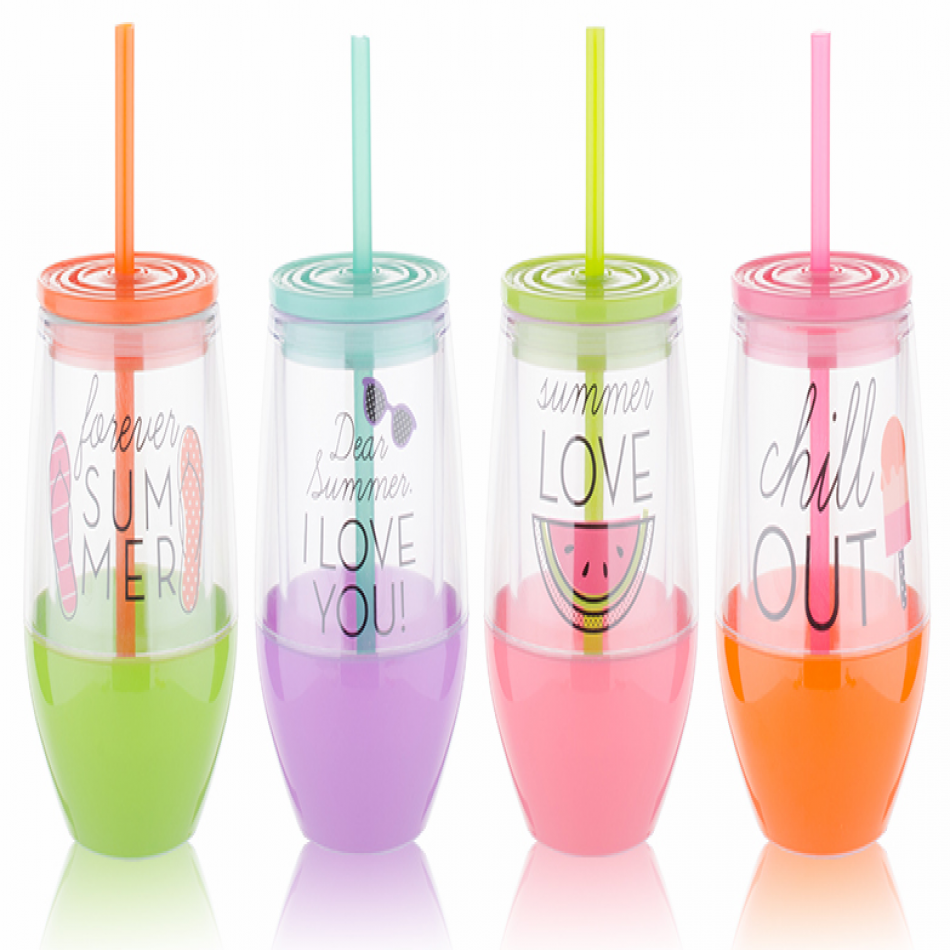 Tanana Summer Iced Drink Short Cup with lid & straw 300ml