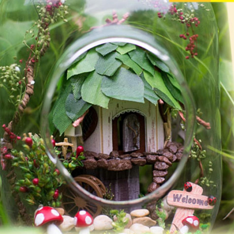 Fairy Tree House DIY Miniature House Model Glass Globe