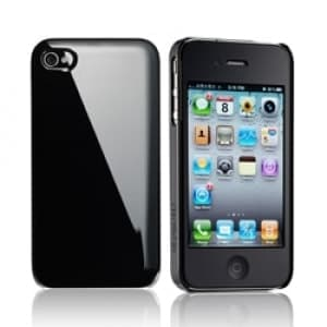 Essential TPE Iro Black UV Coating Snap Case for iPhone 4