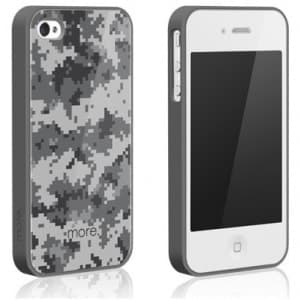More Cubic Square Collection TPU Case for iPhone 4 & 4S - Grey Camo