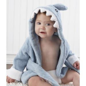 Baby Aspen Let the Fin Begin Terry Shark Robe Hooded 0-9 Months