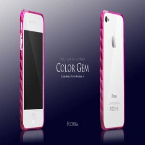 More Color Gem Polymer Jelly Ring for iPhone 4 AP13-024 (Fuchsia Pink)