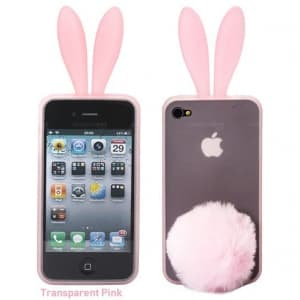 Rabito Bunny Ears Rabbit Furry Tail Light Pink Silicone 3D iPhone 4 Case