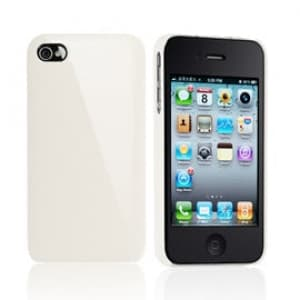 Essential TPE Iro Glossy Cream White UV Coating Snap Case for iPhone 4