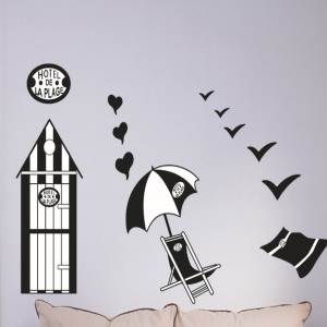 Hotel de La Plage Beach Set Wall Decal Sticker