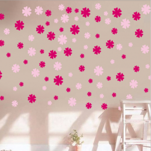 Pink Flower Shower Wall Decal Sticker