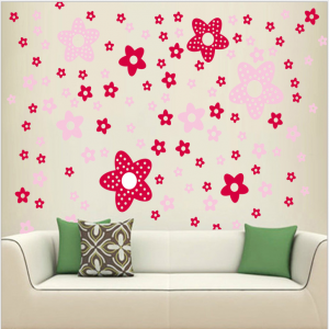 Pink Stars Wall Decal Sticker
