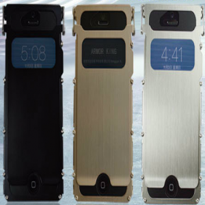 Armor King Metal Flip Aluminum Brushed Stainless Steel Case for iPhone 5S