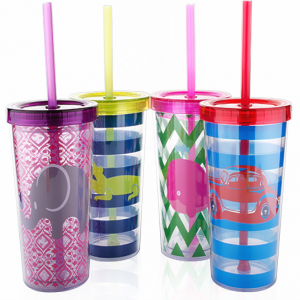 Tanana Cute Iced Drink Tumbler with Sealed Lid and Straw 280ml, 10 oz