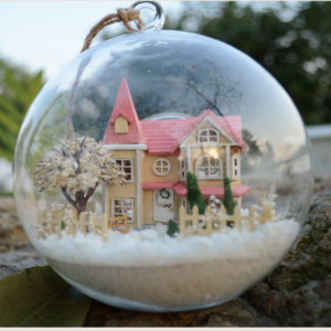 Christmas Gift Idea DIY Miniature House Model Glass Globe Ornament with Led Lights Lolita Pink