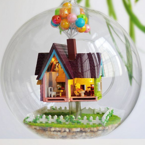 Up The Movie Inspired Voice Control DIY Miniature House Model Glass Globe Ornament with Led Lights Christmas Gift Idea