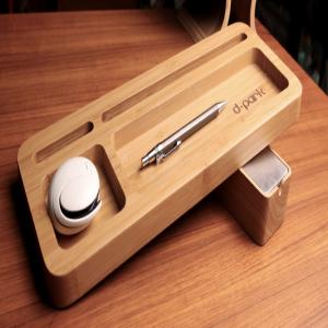 d-park Bamboo Wood Desk Organizer for iPads iPhones Tablets Smartphones