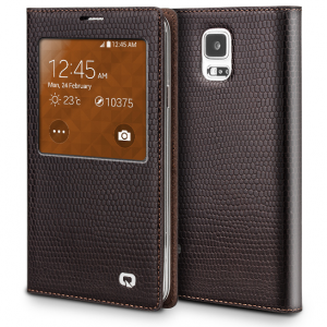 Executive Premium Handcrafted Leather S-View Case for Galaxy S5 Brown Lizard Scales