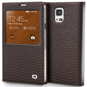 Executive Premium Handcrafted Leather S-View Case for Galaxy S5 Brown Ripples