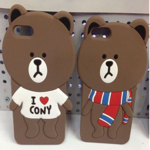 Line 3D Brown Bear Character for iPhone 6 Plus